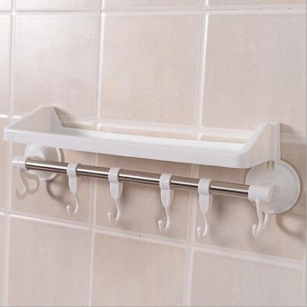 High Quality Plastic Sucker Suction Fixing Single Shelf BathroomShower Bath Kitchen Toilet Towel Rack(white) - intl Price Philippines