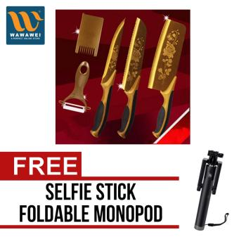High Quality Stainless Steel Kitchen Knife Set Chef Bread CleaverUtility Fruit Paring Knife Gold Rose Kitchen Knives (Gold) withfree Selfie Stick Integrated Foldable Smart Shooting Aid MonopodApple iPhone/All Smartphone (Color May Vary)