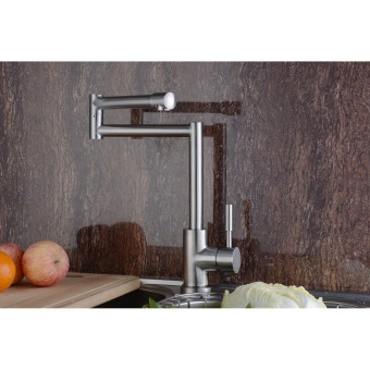 High Quality Stainless Steel Kitchen Sink Faucet Cold and Hot WaterTap Mixer(Silver) - Intl - 5
