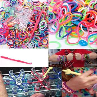 High Quality Store New 600 Elastic Different Colors Rubber Bands 24Clips 1 Hook DIY for Loom Bracelet