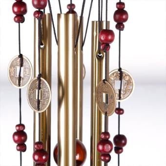 High Quality Store New Magic 4 Tubes 5 Bells Copper Yard Garden Outdoor Living Wind Chimes 65cm - 3