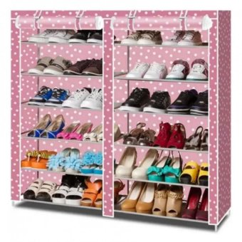 High Quality T-2712 Double Capacity 6 Layer Shoe Rack Shoe CabinetBlues Clues (Pink)