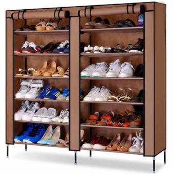 High Quality T-2712 Double Capacity 6 Layer Shoe Rack Shoe Cabinet(Brown) Price Philippines