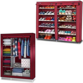 High Quality T-2712 Double Capacity 6 Layer Shoe Rack Shoe Cabinet(Red) With 88105 Storage Wardrobe Clothes Organizer(Red) Price Philippines