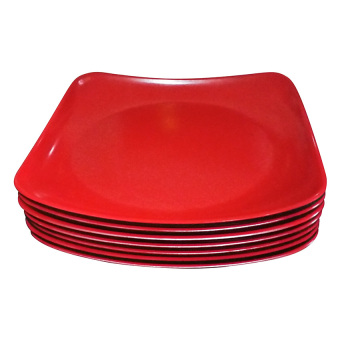 HK Square Plate Set of 6 (Red)