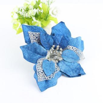 Hollow Glitter Blue Fake Flower Christmas Tree Party Decor