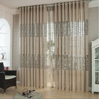 Hollow Leaf Tulle Living Room Drape Valances Door Window Curtain Divider Brown