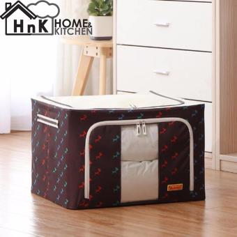 Home and Living Foldable Oxford Cloth Fabrics Room Bag Clothes Blanket Storage Box Home Organizer 66L (Brown Horse)
