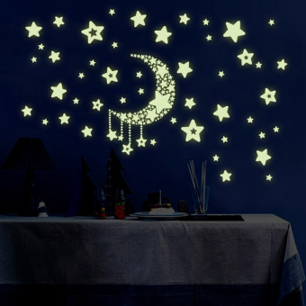 Home Decor Wall Stickers Stars Moon Night Sky Noctilucence Glow InThe Dark For Kids Rooms Art Stickers PVC Decals Wallpaper
