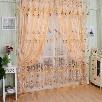 Home Decoration Leaves Pattern Design Window Curtains 1*2 M VoileSheer Drapes For Living Room Curtain Tulle Window VBH59 P62 - intl