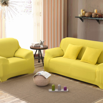 Home Furniture Chair Loveseat Sofa Couch Stretch Protect CoverSlipcover Light Yellow 2 Seater