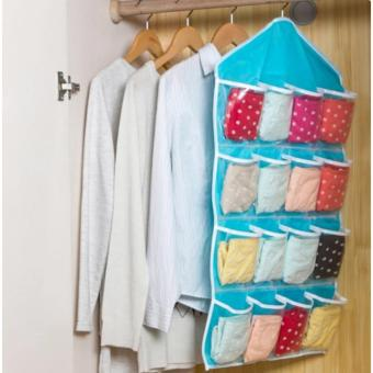 Home Living 16 Pockets Clear Closet Hanging Bag Baby Small ItemsHanger Storage Tidy Organizer