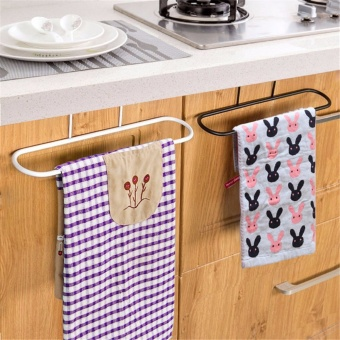 Home Living Bath Towels 2Pcs Kitchen Iron Door Rail Single TowelsShelf Bathroom Rack Holder Bar Hangers Hook - intl Price Philippines