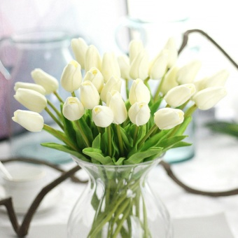 Home Wedding Garden Decor Artificial Fake Tulip Silk Flower BridalHydrangea(Milk White) - intl Price Philippines