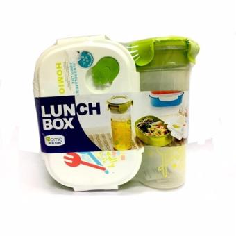 Homio Lunch Box (With Fork) with Tumbler (Clear w/ Green Led) #9565(White/Green)