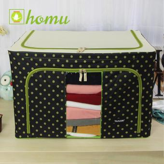 HOMU Clothes Blanket Storage Box Home Organizer 66L (Polka Black)