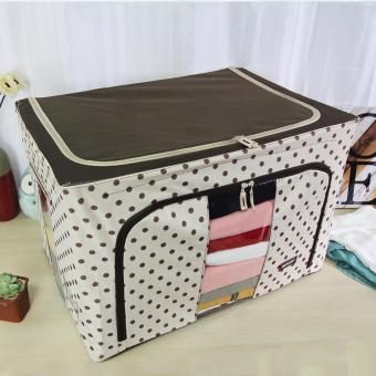 HOMU Clothes Blanket Storage Box Home Organizer 66L (Polka Brown) - 2