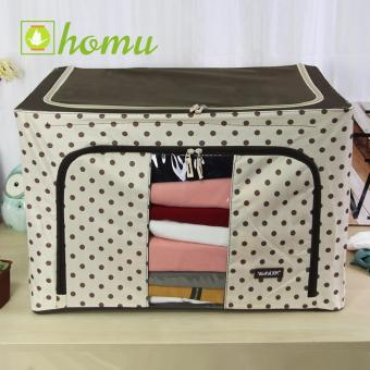 HOMU Clothes Blanket Storage Box Home Organizer 66L (Polka Brown)