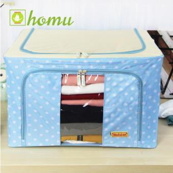 HOMU Clothes Blanket Storage Box Home Organizer 66L (Polka Skyblue)