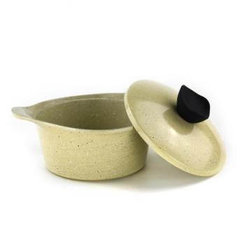 Honhey 21pcs Cast Aluminum Cookware Set with Ecolon Coating (Ivory) - 3