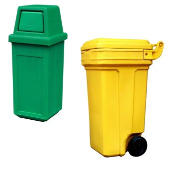 Hooded Bin Small (Green) and Roller King Large (Yellow)