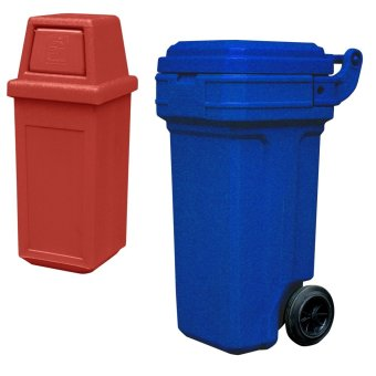 Hooded Bin Small (Red) and Roller King Small (Blue)