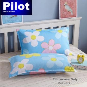 Hot Sale Pilot Bedding Pure Thick Cotton Fashion Print /ZipperDeluxe Hotel Home Resort Envelope Style Pillowcase Best Gift (SkyBlue Sunflower)