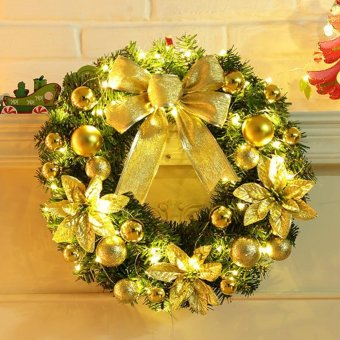 Hot Sales 40cm Golden Bow with LED String Light Christmas WreathBerry Garland Hanging Door Wall Decoration Hign quality - intl - 2