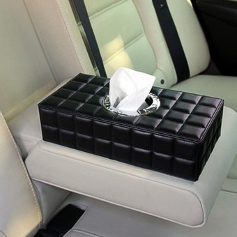Hot Sales Universal Car Auto PU Leather Tissue Box Case PaperHolder Car Napkin Holder Black - intl