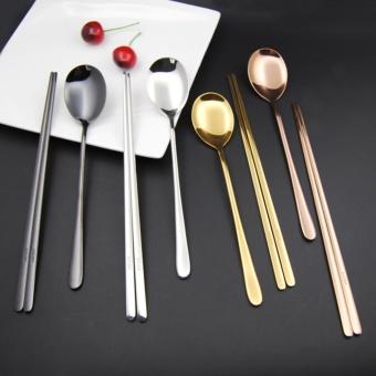 Hot Selling Korean 304 Stainless Steel Chopsticks and Spoon Set - intl - 4