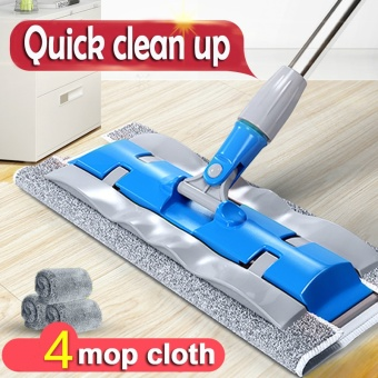 Household Cleaning Tools Floor Flat Mop (4 Mops Cloth)-Blue - intl
