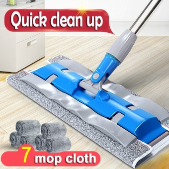 Household Cleaning Tools Floor Flat Mop (7 Mops Cloth)-Blue - intl