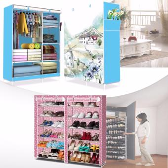 HS-6651 High Quality Cute 3D Design Wardrobe (WIND MILL Blue) withHigh Quality T-2712 Double Capacity 6 Layer Shoe Rack Shoe CabinetBlues Clues (Pink)