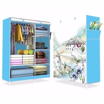 HS-6651 High Quality Cute 3D Design Wardrobe (WIND MILL Blue) withHigh Quality T-2712 Double Capacity 6 Layer Shoe Rack Shoe CabinetBlues Clues (Pink) - 2