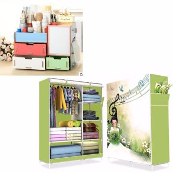 HS-6651 High Quality Cute 3D Design Wardrobe(Music Girl LightGreen) with Multifunction Wooden Drawer Style Makeup CosmeticsJewelry Storage Box Case Rack Organizer (Multicolor)