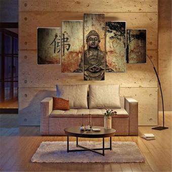 Huge Buddha Abstract Canvas Art Oil Painting Modern Home Wall Decor Set No Frame - 2