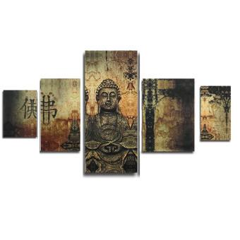 Huge Buddha Abstract Canvas Art Oil Painting Modern Home Wall Decor Set No Frame - 4