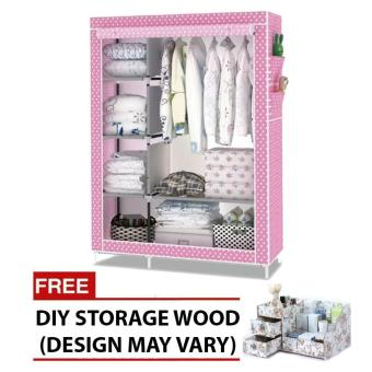 HXT-105nt fashion wardrobe (pink) with free DIY storage wood (color may vary)