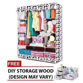 HXT-153NT Fashion Wardrobe (white) with free DIY storage wood(color may vary)