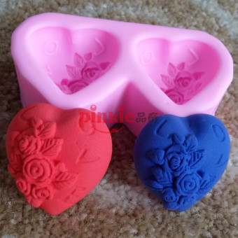 I LOVE two holes heart-shaped rose handmade soap silicone Mold