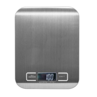 Ichic Stainless Steel Electronic Digital Kitchen Food Weight Scale LCD Display 11lb/5kg - intl