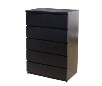 Ikea Malm Chest of 6 Drawers Tall (Black-Brown)