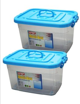 Hi Top 8 Liters Multi Storage Box Transparent Body Set of 2 Blue Price Philippines