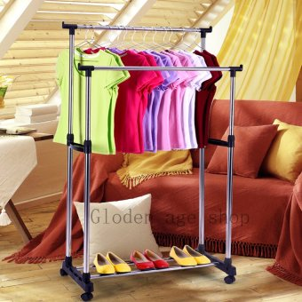 Harga Quality Double Pole Telescopic Clothes Rack