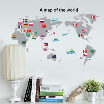 Harga PVC Transparent Film World Map Moveable Wall Stickers - intl