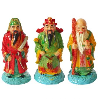 "Feng Shui 3WM-M 3 Wise Men Fuk Luk Sau Star Gods Medium Statue 5"" (Multicolor) Price Philippines"