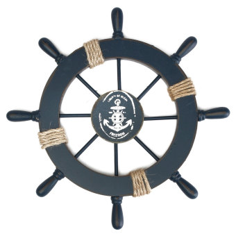 Harga 11'' Wood Nautical Rudder Boat Ship Wheel Beach House Wall Hanging Decoration #2085