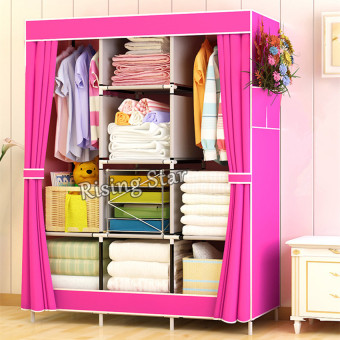 Harga Rising Star Fashion Simple Multifunction Cloth Wardrobe Storage Cabinets (Pink)