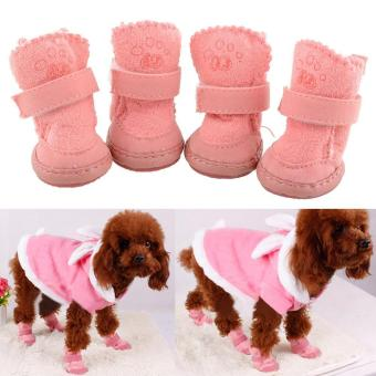 Harga New Lovely Warm Adjustable Pet Dog Winter Cotton shoes Boots 2 Colors - intl