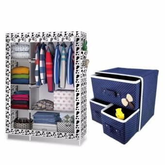 LOVE&HOME 105NT Fashion Storage Wardrobe (White Dog) With Foldable Woven Clothing Storage Box (Blue) Price Philippines